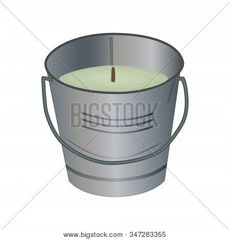 Citronella Bucket Candle Isolated On White Background. Citronella Candles Used As Mosquito Repellent