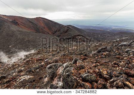 Old Extinct Volcano Crater. Crater Of Erupting Volcano Tolbachik, Kamchatka Peninsula, Russia