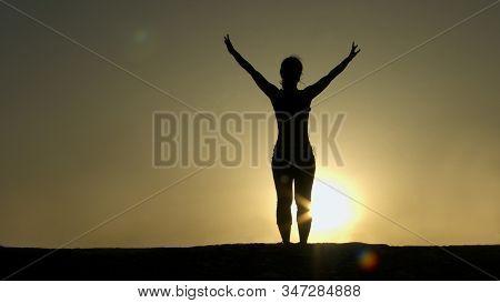 Female Silhouette Greeting Sun, Successful Goal Achievement, Strength Of Spirit