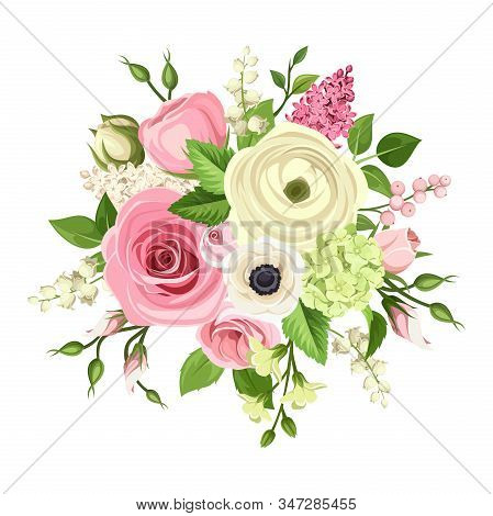 Vector Bouquet Of Pink And White Roses, Lisianthuses, Anemones, Ranunculus, Hydrangea And Lily Of Th