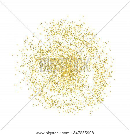 Circle Backdrop Golden Texture Crumbs. Gold Dust Scattering On A White Background. Particles Grain O