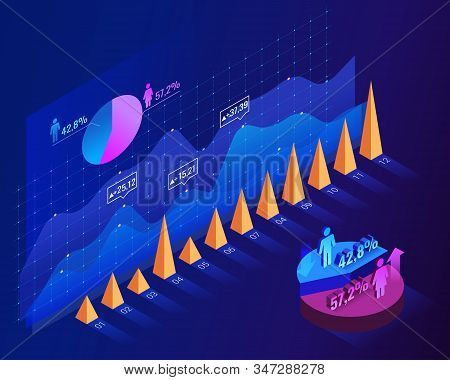 Population Growth By Gender In Graphic Concept For Woman And Man Population Idea. Infographic Blue I