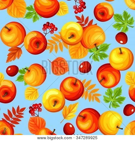 Vector Seamless Background With Colorful Autumn Apples, Leaves And Rowanberries On Blue.