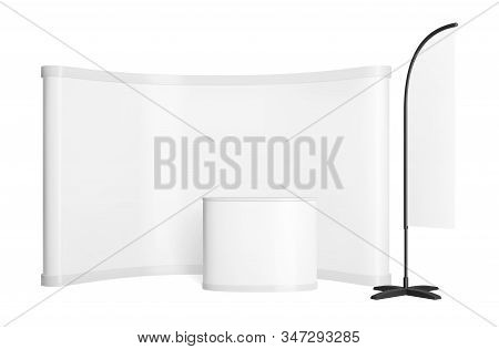 Promotion Counter Mockup. Realistic Vector Pop Up Stand. Trade Exhibition Point Of Sale With Wall, T
