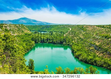 Beautiful Panoramic View Of The Canyon Krka River In A Summer Day. Krka National Park, Croatia, Euro