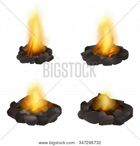 Campfire Icons Set. Realistic Set Of Campfire Vector Icons For Web Design Isolated On White Backgrou