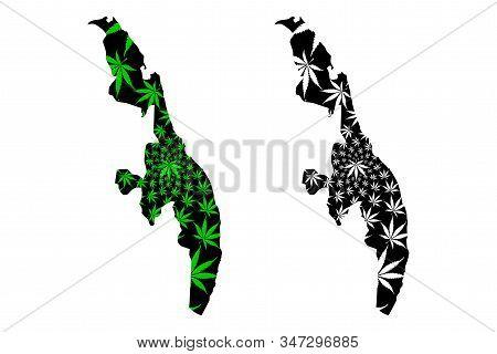 Eastern Province (democratic Socialist Republic Of Sri Lanka, Ceylon) Map Is Designed Cannabis Leaf