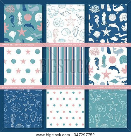 Set Of Seamless Backgrounds On The Theme Of The Sea And Marine Life