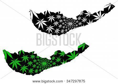 Southern Province (democratic Socialist Republic Of Sri Lanka, Ceylon) Map Is Designed Cannabis Leaf