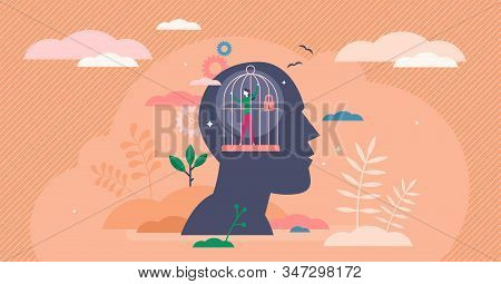 Mind Prison Psychological Concept, Flat Tiny Person Vector Illustration. Head Silhouette With Person