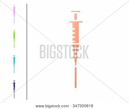 Coral Syringe Icon Isolated On White Background. Syringe For Vaccine, Vaccination, Injection, Flu Sh