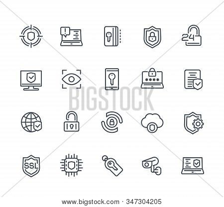 Security And Protection Line Icons On White, Secure Browsing, Cybersecurity, Protected Data And Priv
