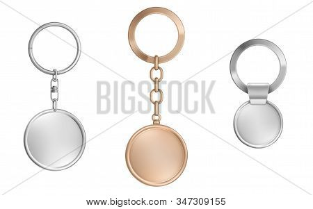 Keychains Set. Metal Round Keyring Holders Isolated On White Background. Gold, Chrome, Silver Or Ste
