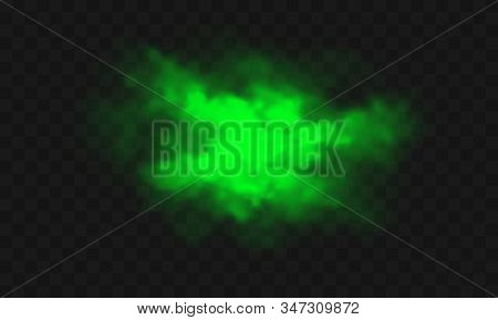 Green Smoke, Unpleasant Bad Smell, Toxic Gas Realistic Vector Illustration. Green Stink Cloud, Smog