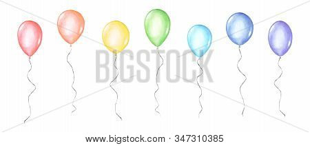 Set Of Colorful Rainbow Colors Watercolor Happy Holiday Glossy Helium Air Flying Balloons Isolated O