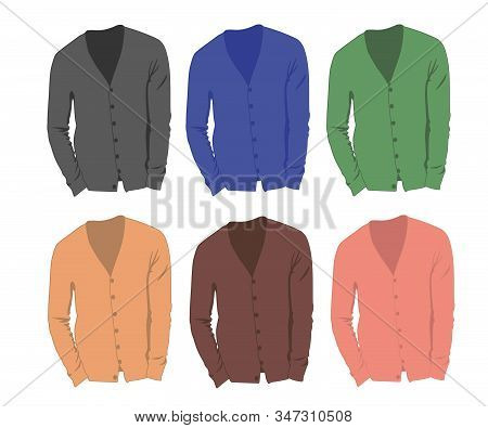Cardigan Different Color Set Realistic Vector Illustration Isolated