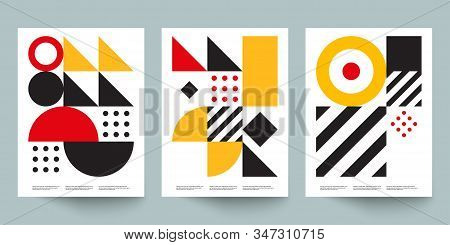 Bauhaus Geometric Minimal Poster, Cover For Booklet, Brochure, Vector Color Template, Black And Yell