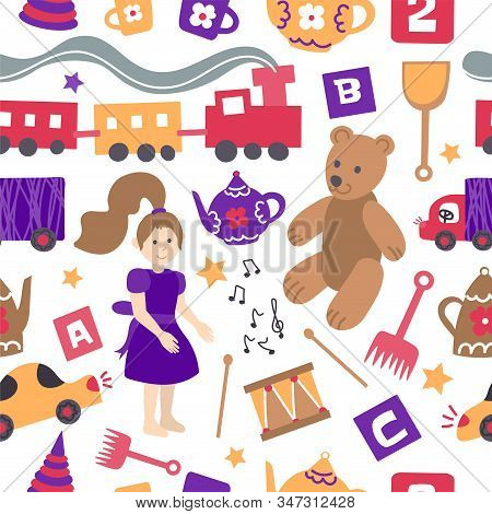 Vector Seamless Pattern With Toys For Children. Yellow And Pink Children's Items On White Background