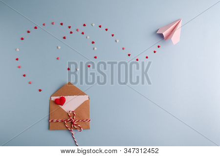 Minimal Valentine Day Concept. Valentines Day Love Letter Post Crossing. Top View Flat Lay . Valenti