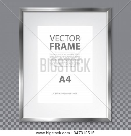 Isolated Realistic A4 Frame With Metallic Border