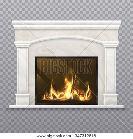 Chimney Or Vector Fireplace With Burning Wood.