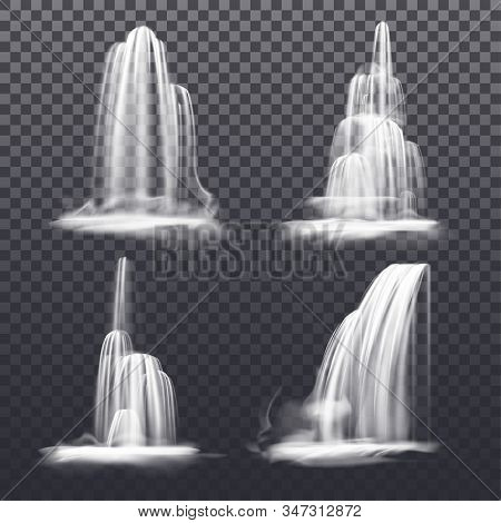 Set Of Realistic Cascade Waterfall, Fountain Water