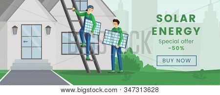 Solar Panels Installation Flyer Flat Template. Using Alternative Energy Discounts, Special Offer. So