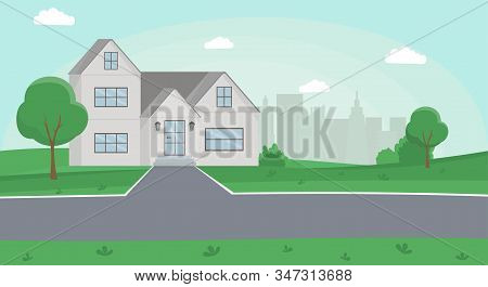 Countryside House Flat Vector Illustration. Family House, Two Storey Cottage, Townhome With Front Ya