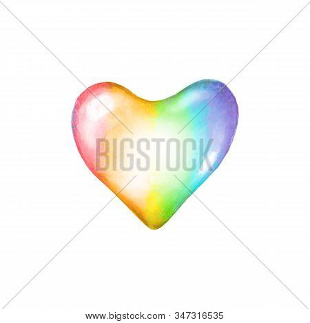 Lgbt Symbol. Watercolor Rainbow Colorful Heart Shape Isolated On White Background. Conceptual Lesbia