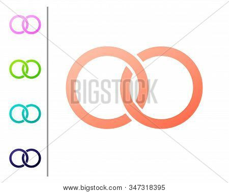 Coral Wedding Rings Icon Isolated On White Background. Bride And Groom Jewelery Sign. Marriage Icon.