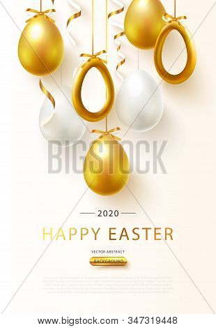 Happy Easter 2020 Background With Realistic Golden Eggs And Serpentine.greeting Card Trendy Design.