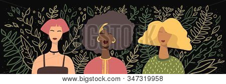 Different Women Avatars On Black Background With Hand Drawn Line Leafs And Branches. Flat Stock Vect