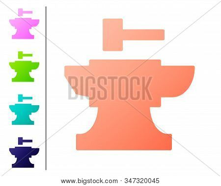 Coral Anvil For Blacksmithing And Hammer Icon Isolated On White Background. Metal Forging. Forge Too