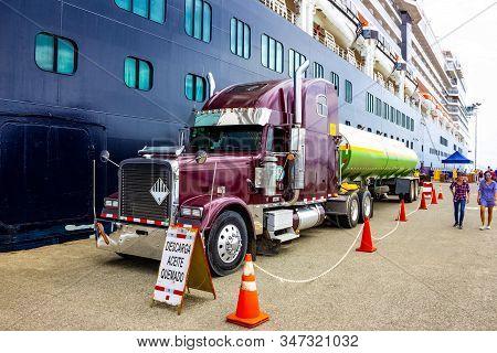 Puerto Limon, Costa Rica - December 9, 2019: The Truck Cistern Refueling A Cruise Ship Holland Ameri