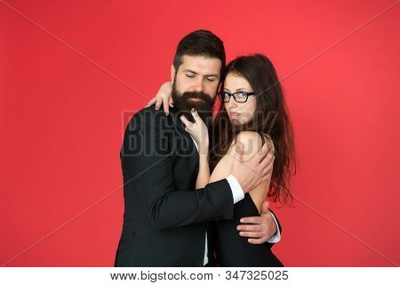 Perfect Couple. Couple In Love Red Background. Couple Of Sensual Woman And Bearded Man. Loving Coupl