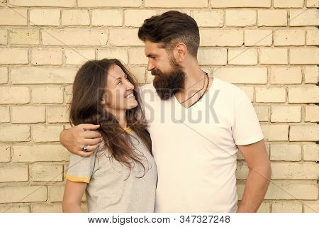 Casual Couple In Love. Boyfriend And Girlfriend Romantic Date. Man Bearded And Girl Friends. Couple