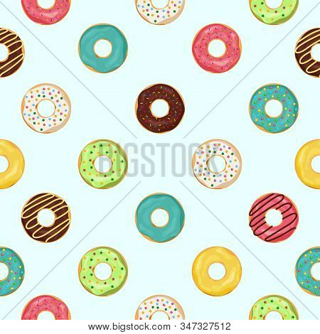 Donut Seamless Pattern. Sweet Summer Seamless With Cupcake And Glazing. Cute Donuts For Kids. Food D