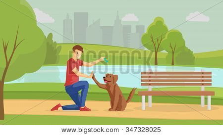 Boy Playing With Dog Outside Flat Vector Illustration. Guy And Four-legged Friend Walking Outdoor To