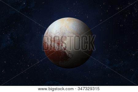 View Of Planet Pluto From Space. Space, Nebula And Dwarf Planet Pluto. This Image Elements Furnished