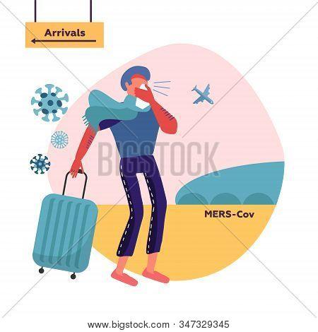Mers-cov Middle East Respiratory Syndrome Coronavirus , Novel Coronavirus 2019-ncov . Man Blowing No