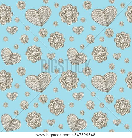 Watercolor Seamless Pattern Hobby Crochet Flowers And Heart. Collection Of Hand Drawn Light Blue, Gr