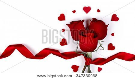 Valentines day hearts and red rose flowers isolated on white background