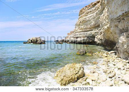 Beauty Nature Sea Landscape Of Crimea, Horizontal Photo. The Black Sea Coast Of Crimea, Kazachiaya B