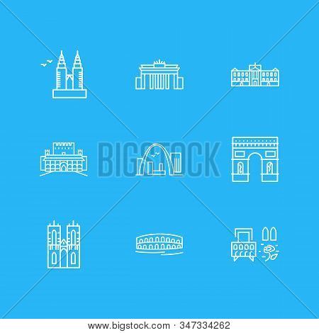 Vector Illustration Of 9 History Icons Line Style. Editable Set Of Westminster Abbey, Buckingham Pal
