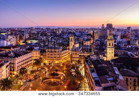 Valencia, Spain - January 4, 2020: Sightseeing Of Spain. Aerial View Of Valencia At Sunset. Illumina