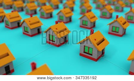 Many Rows Of Colorful Houses. Computer Generated House Property Market For Rent And Home Buyers. 3d