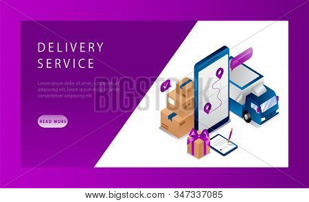 Isometric Logistics And Delivery Service Landing Page Concept. Delivery Home And Office. Delivery Tr