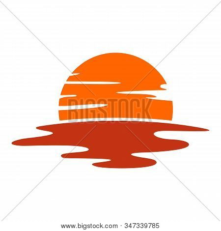Beautiful Sunset Logo Vector. Half Sun Mirage Logo Icon Symbol, Graphic Design Illustrations