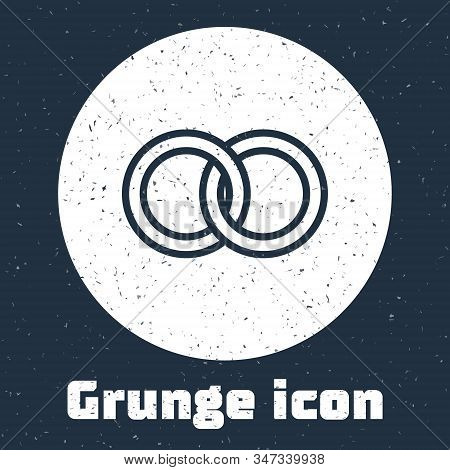 Grunge Line Wedding Rings Icon Isolated On Grey Background. Bride And Groom Jewelery Sign. Marriage