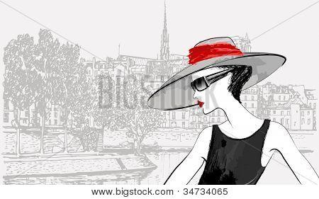 Vector illustration of a woman over Ile de la cite and Ile saint Louis in Paris background (ink pen drawing)